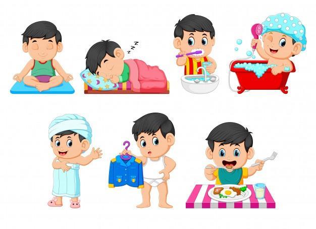 La colección del niño haciendo las actividades diarias.   Vector Premium